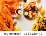 autumn composition. hot tea... | Shutterstock . vector #1196130442