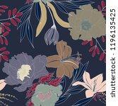beautiful seamless floral... | Shutterstock .eps vector #1196135425