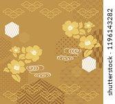 gold japanese pattern vector.... | Shutterstock .eps vector #1196143282