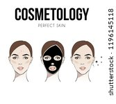 steps how to apply facial mask... | Shutterstock .eps vector #1196145118