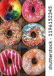 colourfull giant donut | Shutterstock . vector #1196152345