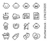 line vector icon set of baby... | Shutterstock .eps vector #1196154205