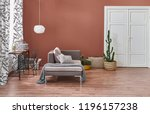brown living room with black... | Shutterstock . vector #1196157238