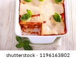 Stock photo vegetarian lasagna with zucchini eggplant tomato sauce and cheese 1196163802