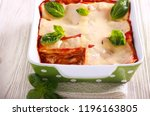 Stock photo vegetarian lasagna with zucchini eggplant tomato sauce and cheese 1196163805