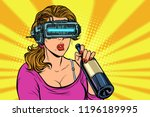 Vr Glasses. Woman Drinking Win...