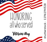 honoring all who served.... | Shutterstock .eps vector #1196194528