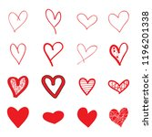 heart hand drawn icons set... | Shutterstock .eps vector #1196201338