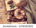 gift  fir branch  nuts  cones  ... | Shutterstock . vector #1196202832