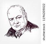 winston churchill vector sketch ... | Shutterstock .eps vector #1196205022