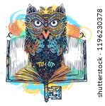 owl and open book tattoo and t... | Shutterstock .eps vector #1196230378