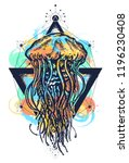 jellyfish tattoo geometric... | Shutterstock .eps vector #1196230408