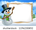 a snowman christmas cartoon... | Shutterstock .eps vector #1196230852
