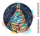 ladders on stack of books... | Shutterstock .eps vector #1196231242