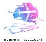 dream tattoo and t shirt design.... | Shutterstock .eps vector #1196231245