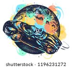 astronaut drives car through... | Shutterstock .eps vector #1196231272
