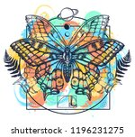 butterfly tattoo art watercolor ... | Shutterstock .eps vector #1196231275