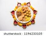 diwali rangoli or design made... | Shutterstock . vector #1196233105