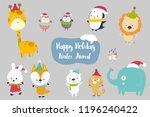 happiness animal cartoon set...   Shutterstock .eps vector #1196240422