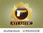 gold shiny badge with pistol... | Shutterstock .eps vector #1196242228