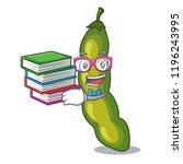 student with book green beans... | Shutterstock .eps vector #1196243995