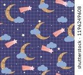 sweet dreams seamless pattern... | Shutterstock .eps vector #1196249608