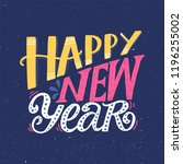 happy new year. greeting hand... | Shutterstock .eps vector #1196255002