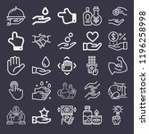set of 25 hand outline icons... | Shutterstock . vector #1196258998