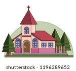 church. isolated on white... | Shutterstock . vector #1196289652