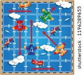 a board game on the airplanes... | Shutterstock . vector #1196289655