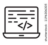 laptop with coding called html... | Shutterstock .eps vector #1196306305