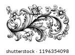 flower vintage scroll baroque... | Shutterstock .eps vector #1196354098