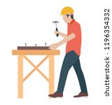 a carpenter to make furniture   | Shutterstock .eps vector #1196354332