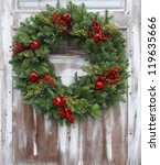 Christmas Wreath On A Rustic...