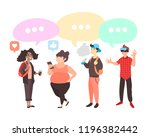 vector set of teenagers with... | Shutterstock .eps vector #1196382442