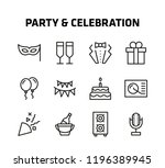 party and celebration thin line ... | Shutterstock .eps vector #1196389945