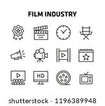 film industry thin line icons... | Shutterstock .eps vector #1196389948