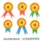 set of golden award badges with ... | Shutterstock .eps vector #1196394592