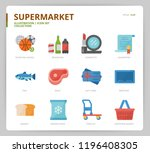 supermarket icon set | Shutterstock .eps vector #1196408305
