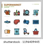 supermarket icon set | Shutterstock .eps vector #1196409445
