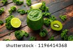 green smoothies with kale  kiwi ... | Shutterstock . vector #1196414368