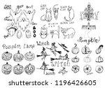 collection of halloween hand...   Shutterstock .eps vector #1196426605