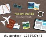 plane model with travel... | Shutterstock .eps vector #1196437648