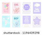 set of baby shower cards ... | Shutterstock .eps vector #1196439298