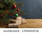 craft gifts under the tree  on... | Shutterstock . vector #1196444518