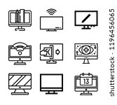 set of 9 screen outline icons... | Shutterstock . vector #1196456065