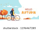 hello autumn. young female... | Shutterstock .eps vector #1196467285