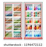 refrigerator for drinks. fridge ... | Shutterstock .eps vector #1196472112