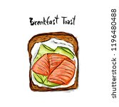 toast with salmon and cucumber... | Shutterstock .eps vector #1196480488