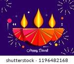 happy diwali text design.... | Shutterstock .eps vector #1196482168